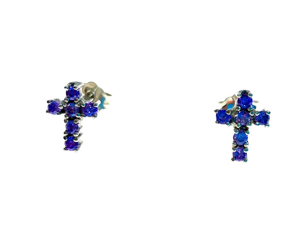 Pendientes cruz plata Silya