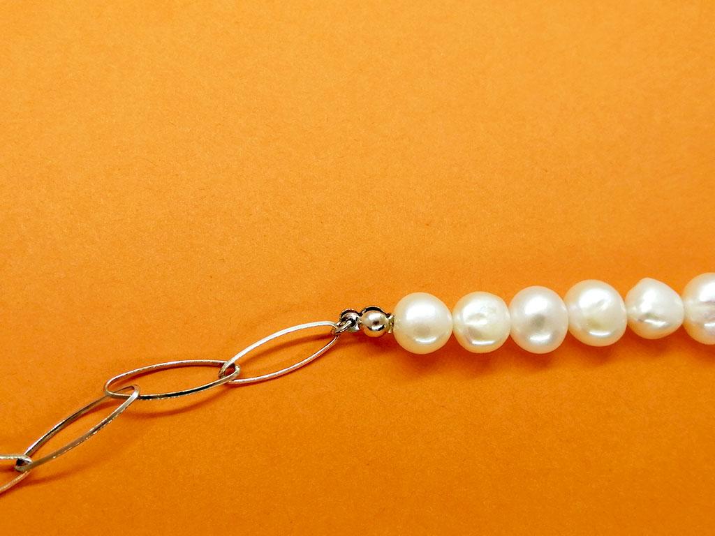 Collar perlas cadenas plata Strach