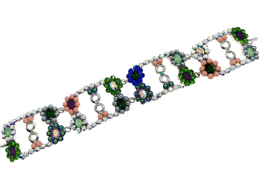Pulsera cristales swarovski plata Flowers