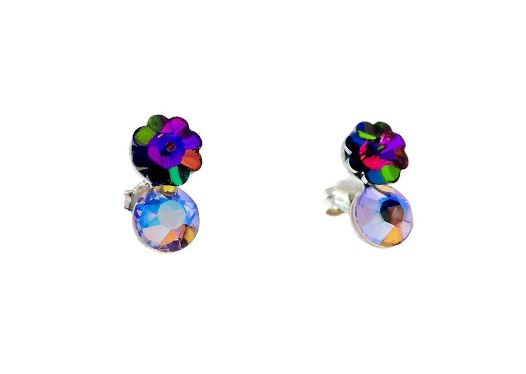 Lindos pendientes flor en plata creadoscon Crystales de Swarovski®