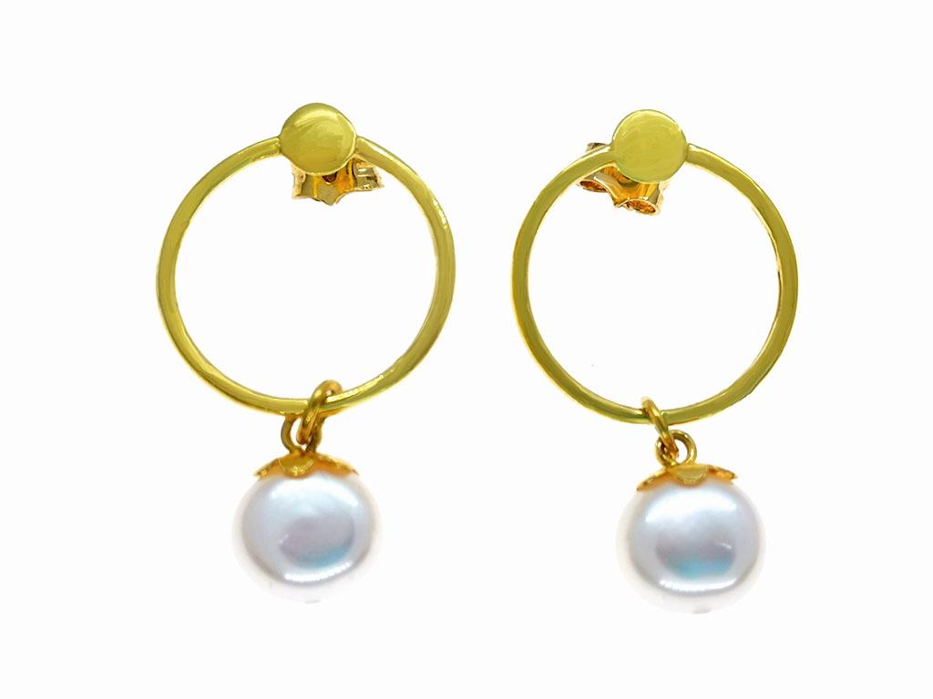 Aros con perlas cultivadas